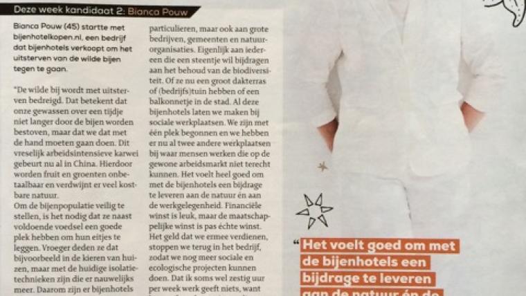 Bianca Pouw van Bijenhotelkopen.nl is genomineerd voor de Libelle Ster